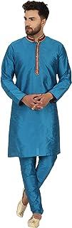 SKAVIJ Kurta Pajama Set for Men Long Sleeve Indian Ethnic Party Dress