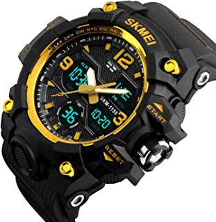 Mens Analog Digital Watch - LED 50M Waterproof Outdoor Sport Watches Military Multifunction Casual Dual Display 12H/24H Stopwatch Calendar Wrist Watch-Gold …