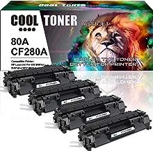 Cool Toner Compatible Toner Cartridge Replacement for HP 80A CF280A 80X CF280X for HP Laserjet Pro 400 M401A M401D M401N M401DN M401DNE M401DW, Laserjet Pro 400 MFP M425DN Laser Ink Printer Black-4PK