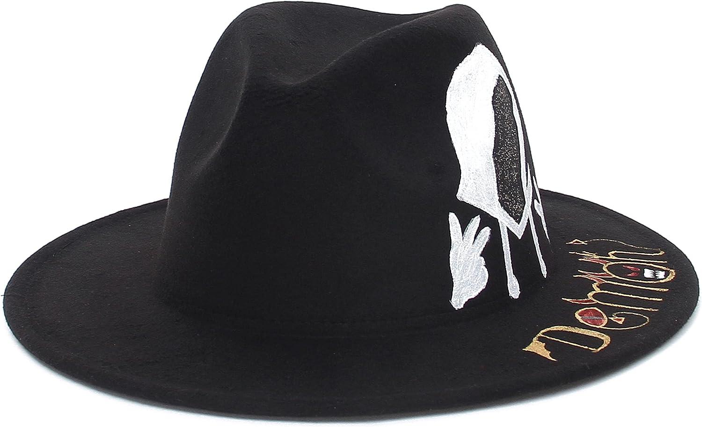 GEMVIE Womens Trendy Fedora Hats Hip Hop Style Jazz Hat Wide Brim Felt Panama Graffiti Hat