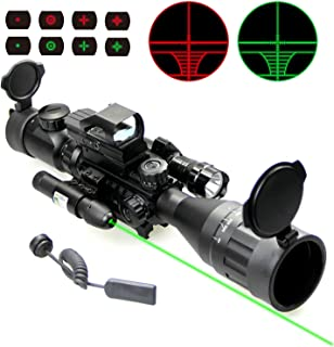 UUQ 4-16x50 Tactical Rifle Scope Red/Green Illuminated Range Finder Reticle W/RED(Green) Laser Sight and Holographic Reflex Dot Sight (4-16X50AO Green Laser+104 Dot Sight+FL)