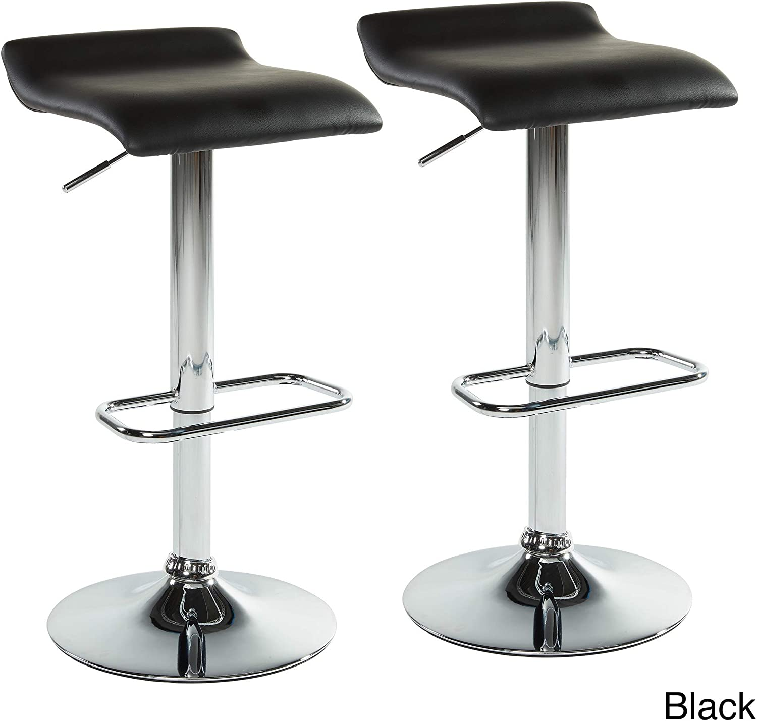 Worldwide Homefurnishings Inc. Adjustable Stool in Black - Set of 2