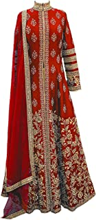 Ethnic Empire Women's Banglory Silk Semi Stitched Anarkali Salwar Suits (Eeas_Ea11153_Red Free Size)