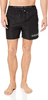 Calvin Klein Medium Double Waistband Swim Shorts, Medium, Black