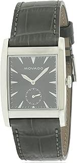 Movado Men's Heritage Black Leather Band Steel Case Sapphire Crystal Swiss Quartz Analog Watch 3650048