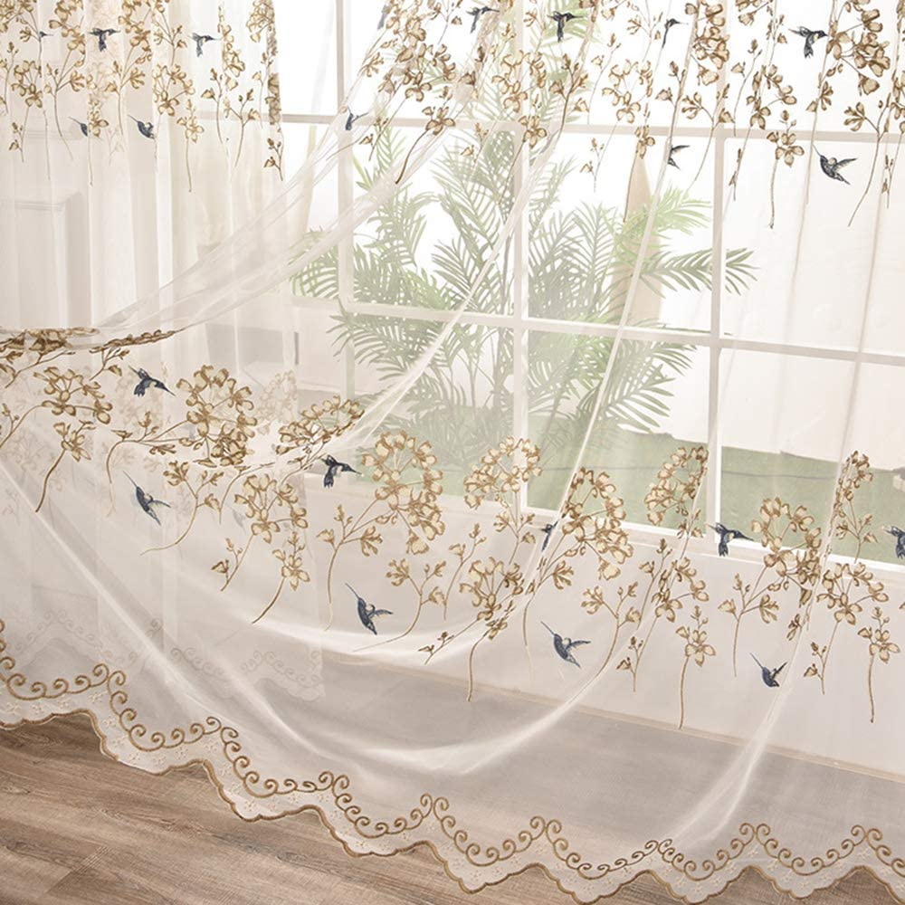 Pureaqu Elegant Floral Birds Sheer New products, world's highest quality popular! 84 Curtains Embro Inches New popularity Long