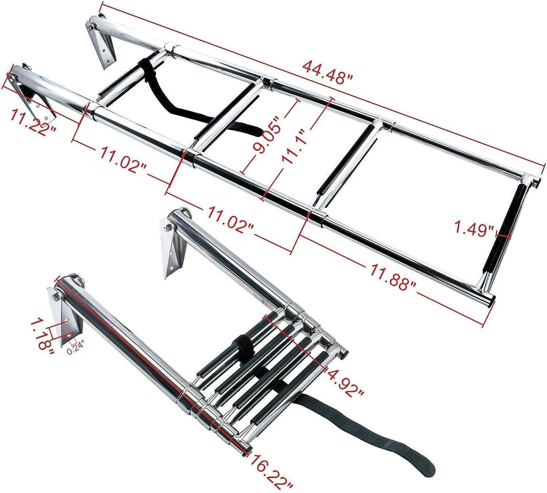 Amarinemade 4 Step Stainless Steel Telescoping Boat Ladder Swim Step