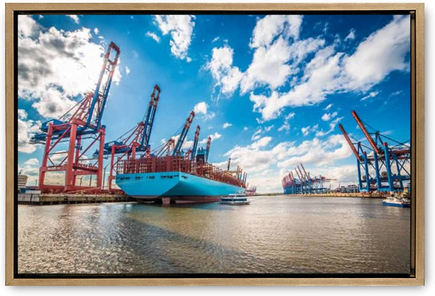 Large Limited time trial price Wooden Framed Canvas Wall Japan's largest assortment Art of Germany Hamburg Canv Port