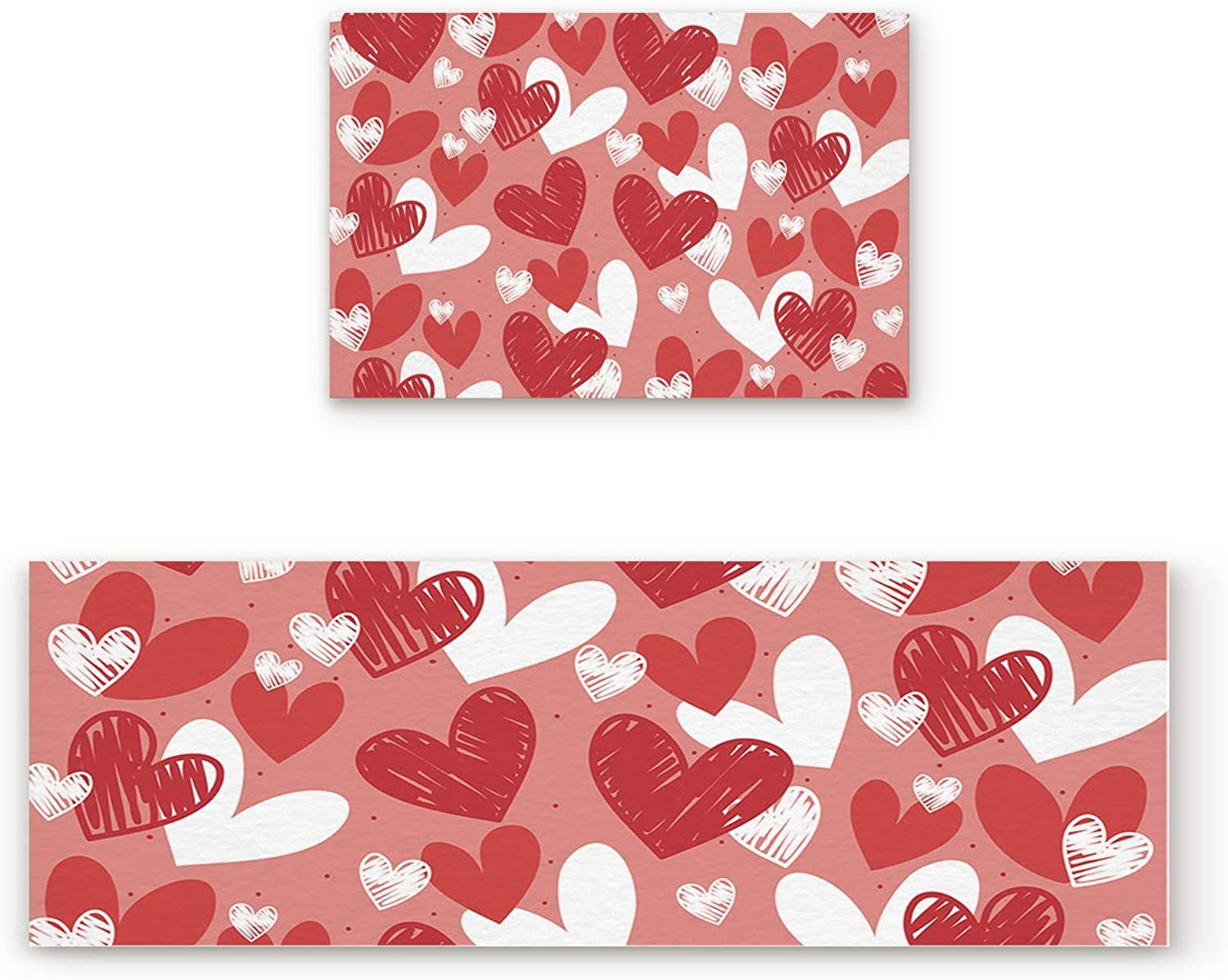 Aomike 2 Piece Non-Slip Kitchen Mat Rubber Backing Doormat Red White and Pink Hand Drawn Hearts Pattern Runner Rug Set, Hallway Living Room Balcony Bathroom Carpet Sets (19.7  x 31.5 +19.7  x 63 )