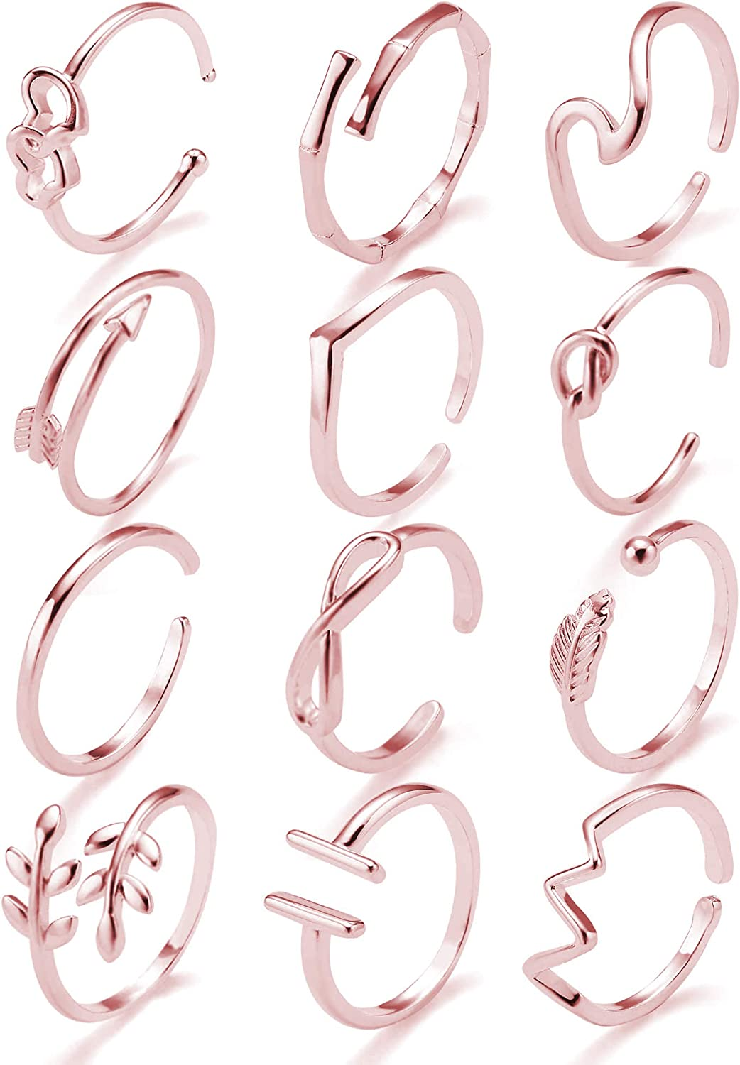 Adjustable Open Rings for Women Knot Arrow Heart Wave Infinity Rings Dainty Stackable Thumb Knuckle Open Rings Set 12 Pcs …