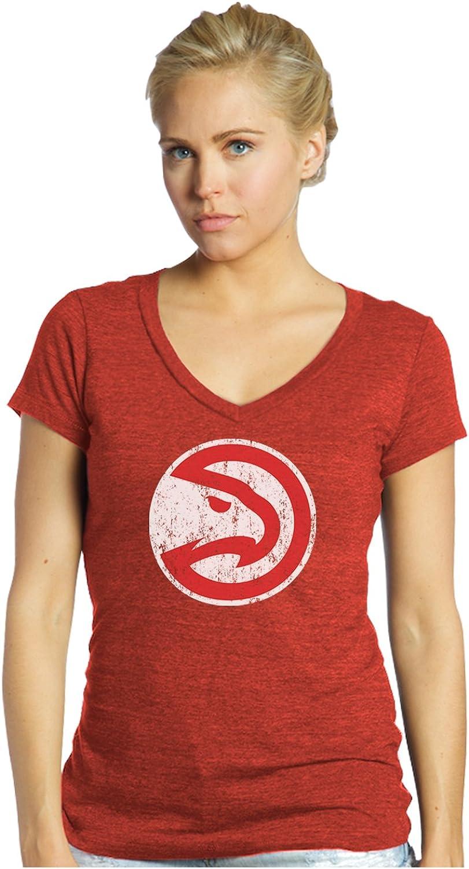 NBA Atlanta Hawks Women's Premier Triblend Modest V-Neck Tee, Red, Medium