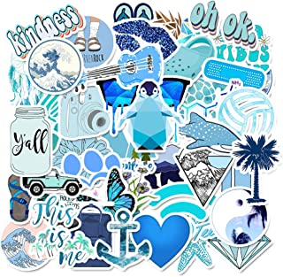 Water Bottle Blue Aesthetic Stickers Cute Laptop Stickers Pack 50 Pcs Decals for Water Bottle Laptops Ipad Cars Luggages