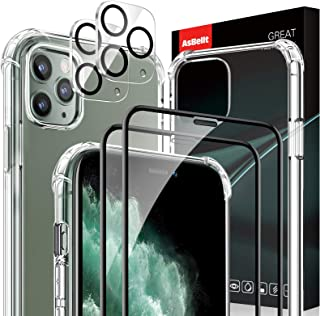AsBellt for iPhone 11 Pro Max Tempered Glass Screen Protector [2 Pack]+ Camera Lens Protector[2 Pack]+ Clear Case [1 Pack]...