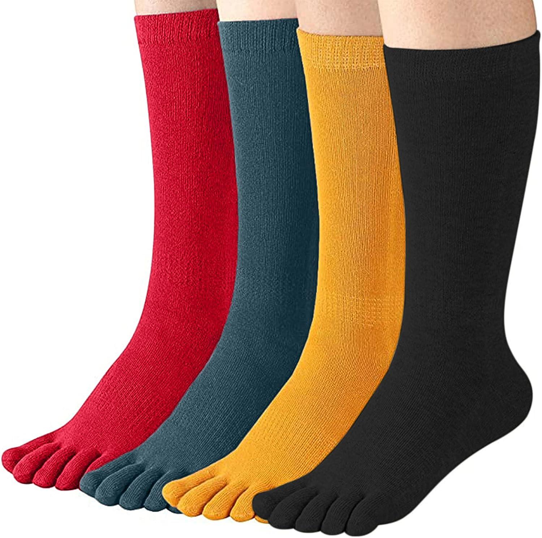 Lanmiya Women's Toe Socks For Running Athletic Cotton Five Finger Socks 4 Pack