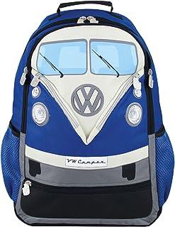 VW Collection - Volkswagen Furgoneta Hippie Bus T1 Van Mochila Vintage para Portatíl con Correas Ajustables y Correa para el Pecho, Equipaje para Escuela/Oficina/Deporte/Viaje (30L/Grande/Azul)