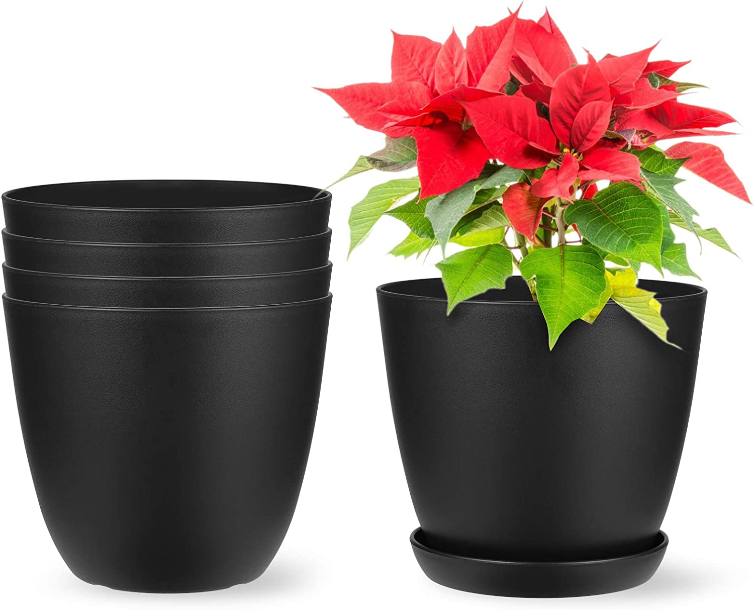 Akarden 5 Pack 6.5 Plastic Planters with Saucers Gardening Pot with Drainage for All Home Plants(Black)