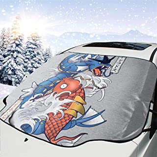 ENXIANGXIJ Monster of The Pocket Koi Magikarp and Gyarados Car Windshield Snow Cover, Ice Removal Sun Shade, Fit for Universal Cars (58'' X47'')