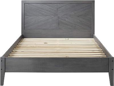 Walker Edison Mid Century Modern Wood Queen Bed FrameHeadboard Footboard Bed Frame Bedroom GreyQueen