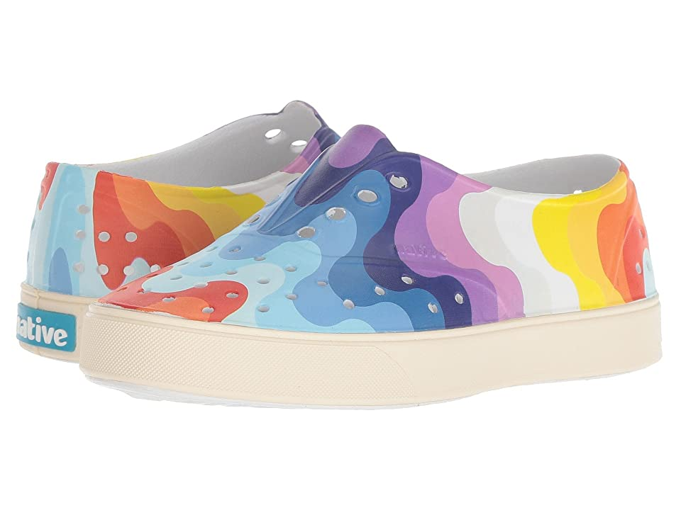 Native Kids Shoes Miller Print (Little Kid) (Shell White/Bone White/Rainbow Wave) Kid