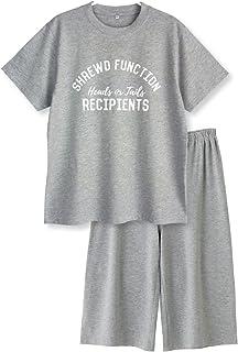 【ノーブランド品】 綿100% 春?夏 半袖レディースパジャマ 薄手の快適Tシャツパジャマ上下セット ロゴプリント
