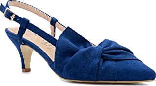 6da4bbe2 Greatonu Women Shoes Bow Tie Kitten Heels Slingback Dress Pumps Court Shoes