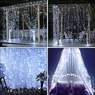 slashome Window Curtain Lights,29V 306 LED 9.8 x 9.8 feet with 8 Lighting Modes Christmas String Fairy Lights for Wedding, Home, Garden, Party, Festival, Holiday Decor.(Warm White) (306LED White)