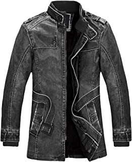 Men's Motorcycle Stand Collar Fashion Faux Leather Jacket