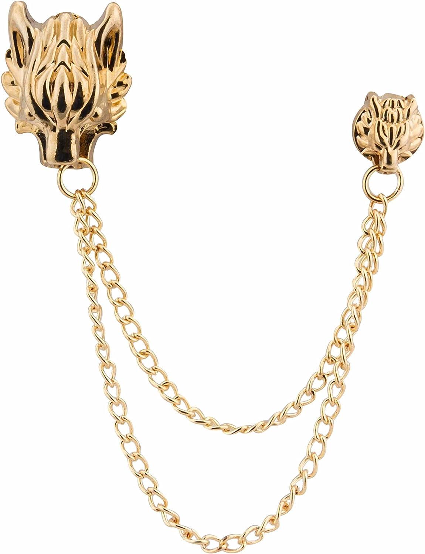 Knighthood Men's Dragon Head with Hanging Tassel Lapel Pin/Brooch Golden