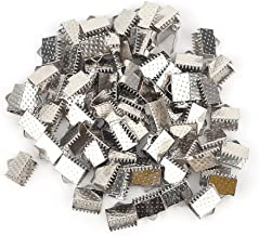 200PCS Silver Plated Ribbon Ends Fastener Clasps Textured Crimp End Clamps Cord Ends 8mm