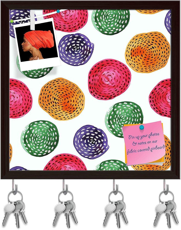 Artzfolio Watercolor Circles D5 Key Holder Hooks   Notice Pin Board   Dark Brown Frame 20 X 20Inch