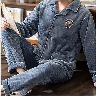 NYKK Pijamas Invierno Coral Fleece Pijamas Invierno for Hombre Plus Velvet Flannel Flannel Hombre EL Servicio DE Hombres DE Hombre Caliente Hombres DE Hombres Y Invierno Lounge Wear (Color : D)