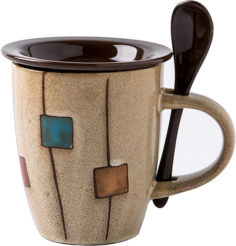 Verdental Coffee Mugs Ceramic Tea Cup With Spoon And Lid Retro Drum Shaped Novelty Mug Sets Office Mug Water Cup Brown