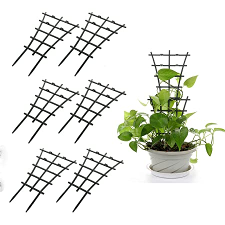 GWOKWAI 6Pcs Plant Climbing Trellis Supports, DIY Garden Mini Superimposed Potted Plant Support Plastic Pot Plant Stem Support Wire for Indoor Outdoor Vines Flower Vegetable