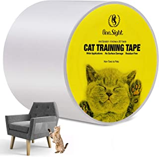 One Sight Cat Scratch Training Deterrent Tape, 4 Inches x 30 Yards(33% Wider) Cat Furniture Protector, Clear Double Sided ...
