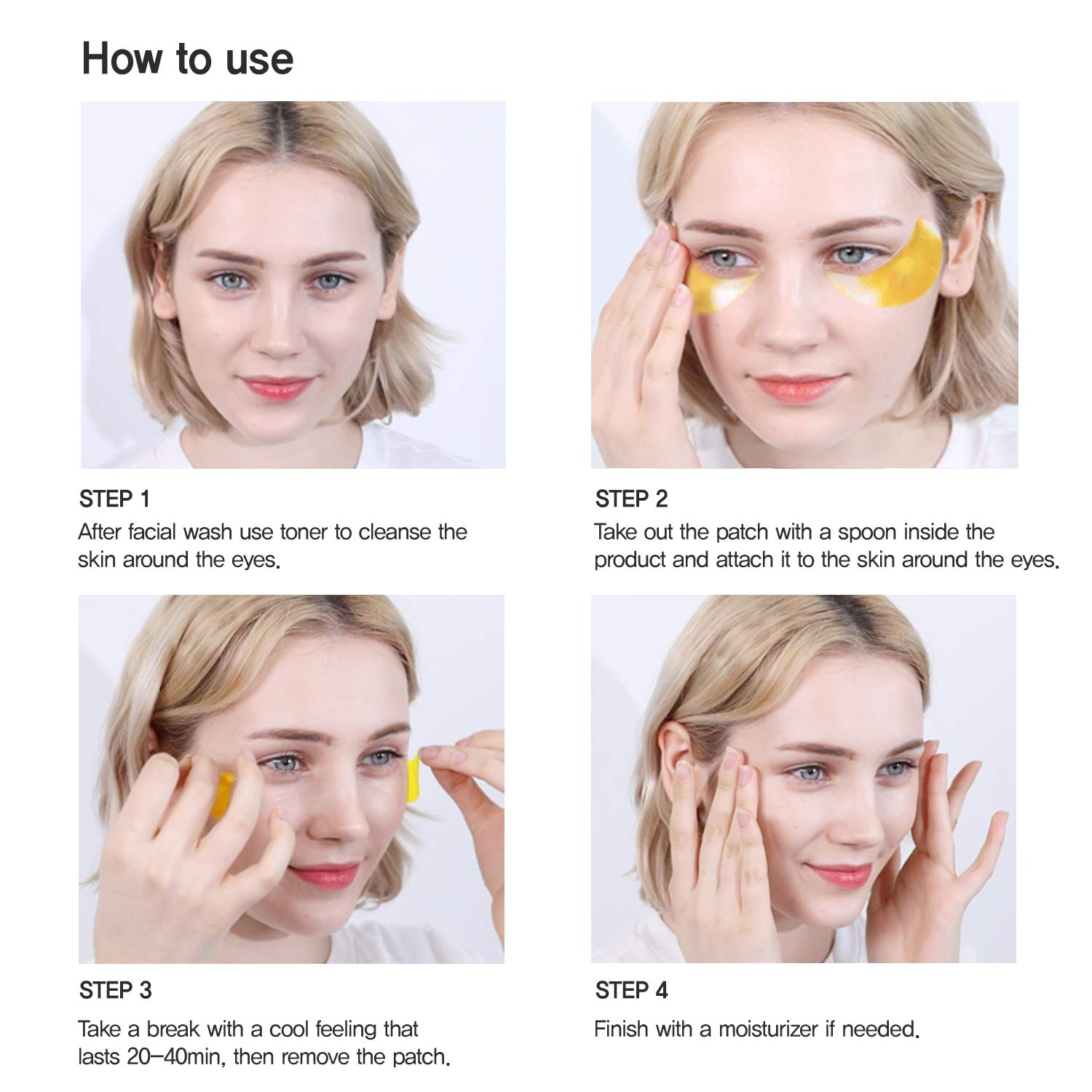 Under Eye Collagen Patches Eye Masks with 24K Gold and Snail, Eye Gel Treatment Masks for Puffy Eyes, Eye Pads for Dark Circles, Under Eye Bags, Anti Wrinkle, Moisturizing Improves Elasticity 30 PAIRS (Gold & Snail)