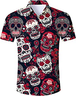 RAISEVERN Men's Ugly Christmas Shirt Button Down Short Sleeve Dress Shirts for Holiday Party