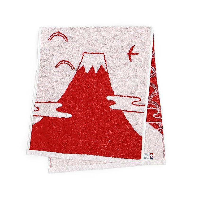 今治タオル 富士山 フェイスタオル (レッド)