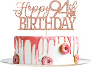 Rose Gold Glitter Happy 94th Birthday Cake Topper- Hello 94- Cheers to 94 Years Party Decoration