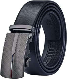 Dubulle Mens Belt with Removable Buckle Full Grain Leather Belt Ratchet Sliding Belt Removable Buckle Black
