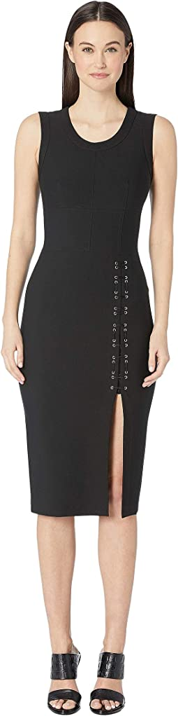 Sleeveless Mechinical Stretch Dress with Lacing Detail