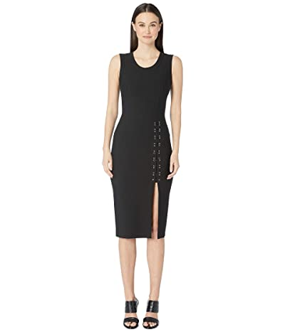 YIGAL AZROUEL Sleeveless Mechinical Stretch Dress with Lacing Detail (Black) Women