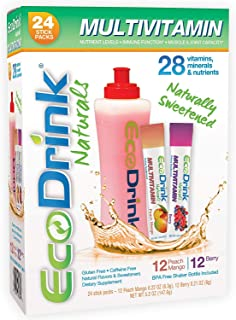 EcoDrink Naturals - Naturally Sweetened Complete Multivitamin Mix Drink Variety Pack with Reusable Bottle - Berry/Peach Mango (24 Sticks)