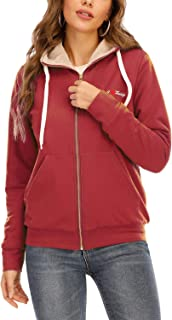 kooosin Women's Casual Winter Warm Soft Sherpa Lined Zip Up Hooded Sweatshirt Jacket Coat…