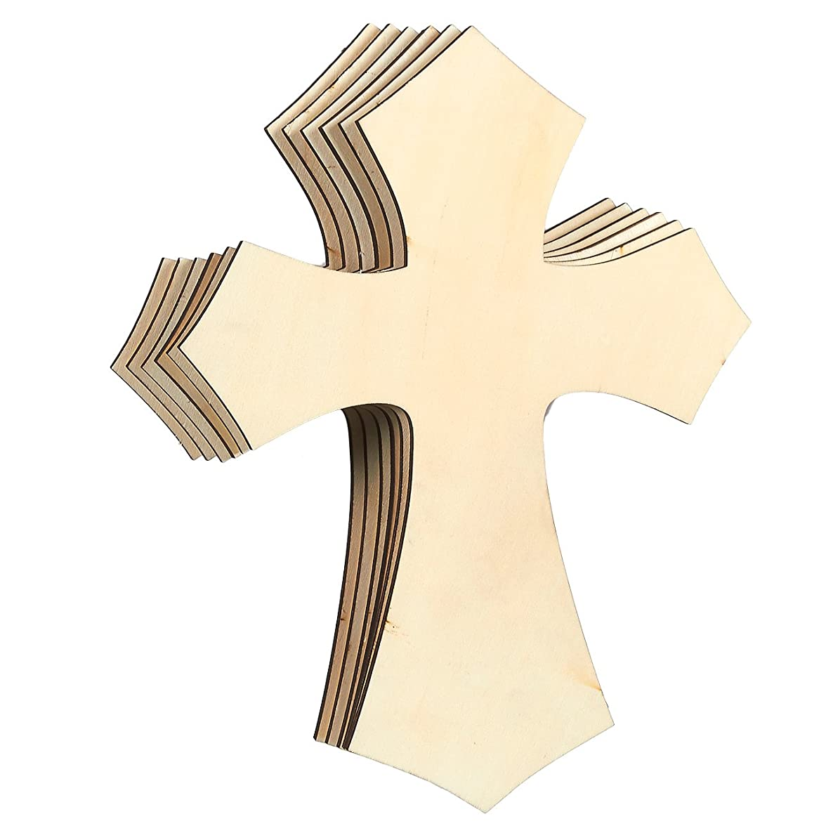 Unfinished Wood Cutout - 6-Pack Cross Shaped Wood Pieces for Wooden Craft DIY Projects, Sunday School, Church, Home Decoration, 11.8 x 8.8 x 0.188 inches