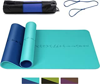 "DAWAY Eco Friendly TPE Yoga Mat Y8 Wide Thick Workout Exercise Mat, Non Slip Grip Pilates Mats, Body Alignment System, Tear Resistant, with Carrying Strap, 72""x 26"" Thickness 6mm"