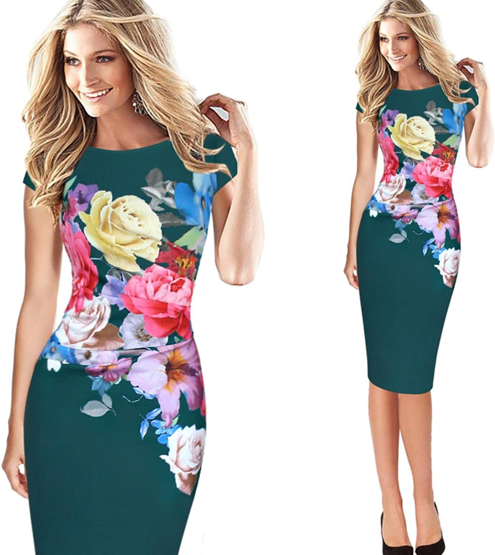 NJSBPG Womens Elegant Flower Floral Printed Ruched Cap Sleeve Ruffle Casual Dress