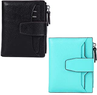 AINIMOER Women Leather Wallet RFID Blocking Small Bifold Zipper Pocket Wallet Card Case Black and Sea Blue Bundle