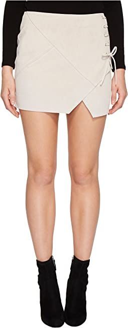 Blank NYC - Real Suede Mini Skirt with Lacing Detail in Blondie