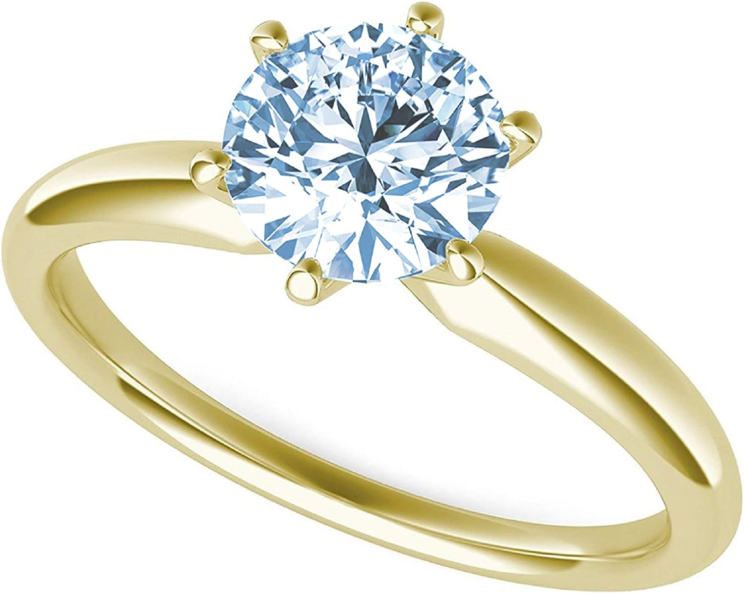 2.95ct Round Cut Solitaire Aquamarine Blue Simulated Diamond CZ Excellent VVS1 D 6-prong Classic Designer Statement Ring Solid Real 14k Yellow Gold for Women