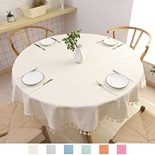 SPRICA Round Tablecloth, Cotton Linen Tassel Table Cover for Kitchen Dinner Table, Decorative Solid Color Table Desk Cover,Diameter 60